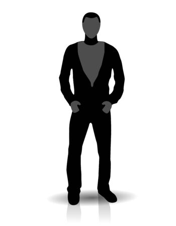 Silhouette of young man in free style