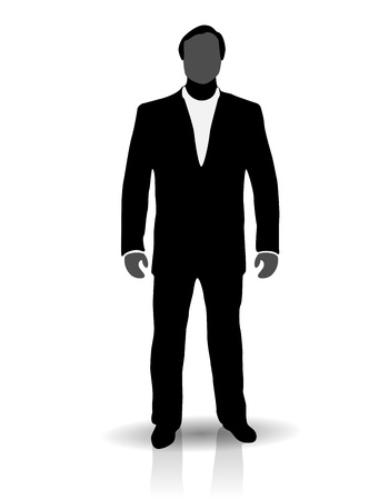 negotiator: Silhouette of man in suit, negotiator or executive director