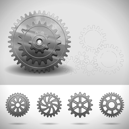 Gear Wheels, Cogwheels with different numbers of teeth Stock Vector - 12957632