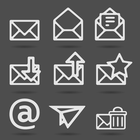 Envelope, plane, shopping and other icons for e-mail Vector