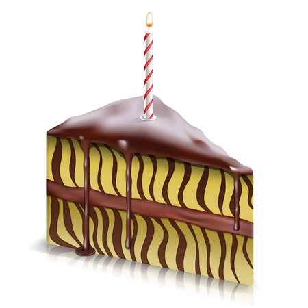 Stück Kuchen mit Schokolade fließt nach unten und mit Kerze