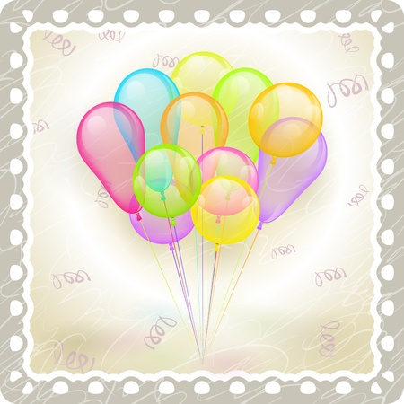 multicolored balloons in old vintage frame Stock Vector - 13133047