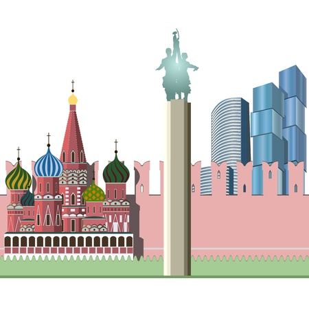 red square moscow: Background with Moscow s sights  Kremlin, city, cathedral Illustration