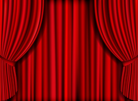 theater seats: realistic red curtain for product launches Illustration