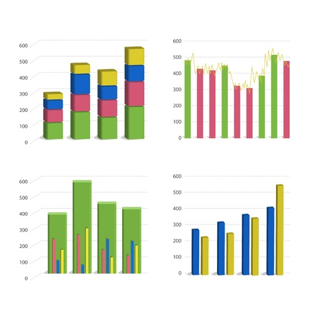 Different Bar chart graph isolated on white background Stock Vector - 13132927