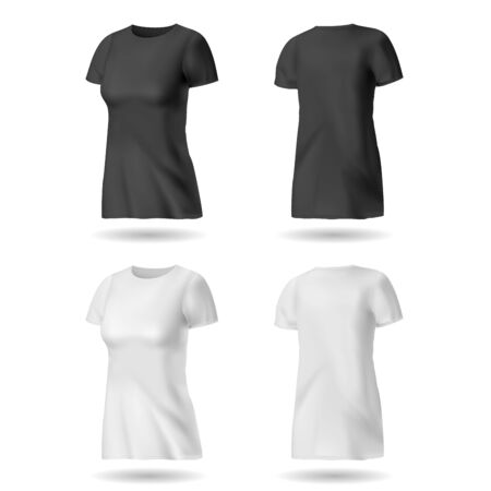 T-shirt design template for women  Black and white Stock Vector - 13132930