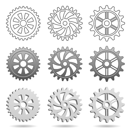 Different types of gears isolated on white background Vector