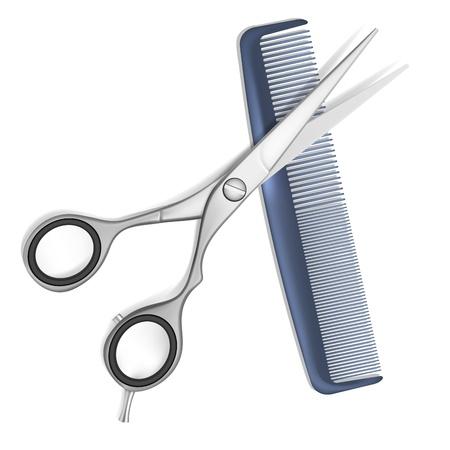 Stylist: Tijeras y peine para el cabello aislado en blanco