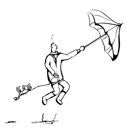 strong wind: Sketch  Man walks with dog in strong wind