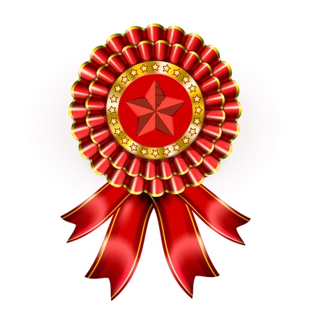 Big Red Award Label with star and ribbons Stock Vector - 13441846