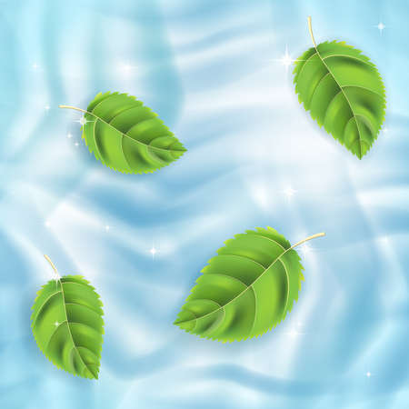 Vector background, green leaves on blue water Stock Vector - 13441845