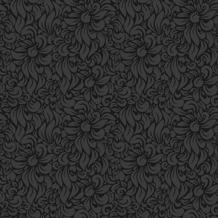 Seamless Vector Luxury floral background  Gray on Dark Stock Vector - 13441849