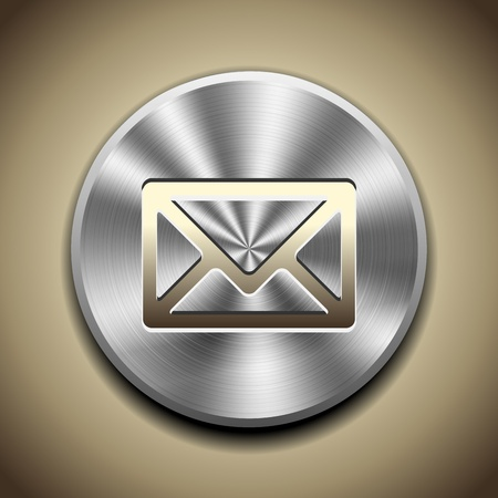 Gold mail icon on button with circular metal processing Stock Vector - 13441847