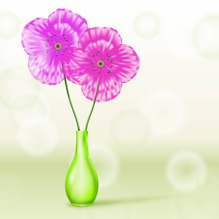 Pink and purple flowers in green vase on spring background Stock Vector - 13441852