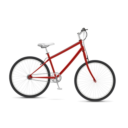 Red realistic vector bicycle Isolated over white Stock Vector - 13441842