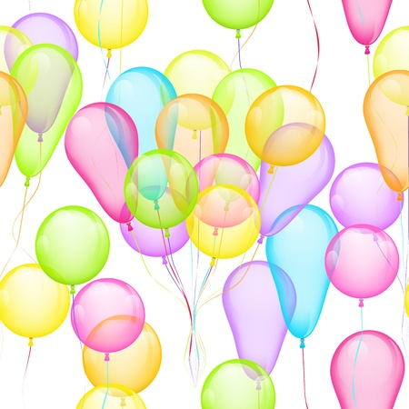 Seamless Background with multicolored balloons on white Vector