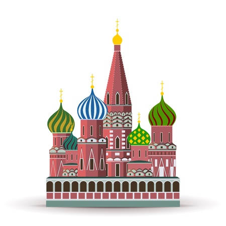 moscow churches: Kremlin, St. Basil Cathedral, Attraction in Moscow Illustration