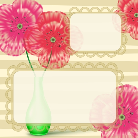 Love letter card with pink and red flowers Stock Vector - 13653037