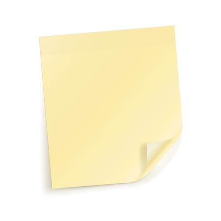 Yellow sticky sheet for notes on white Stock Vector - 13652987