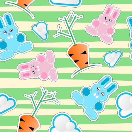 Seamless kid pattern with bunnies, clouds, carrots Stock Vector - 13652893