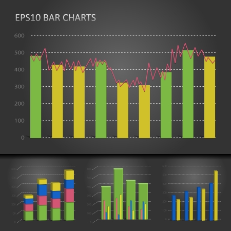 graph bar chart patterns on dark Vector