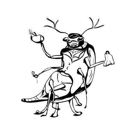 ink Sketch, beetle eats apple, sitting on chair Stock Vector - 13742139