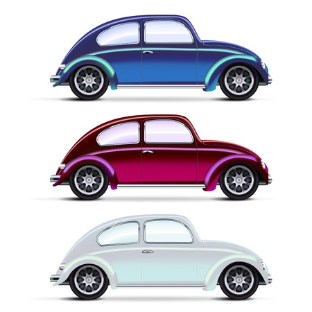 Mesh realistic multicolored Old cars on white Stock Vector - 13742145