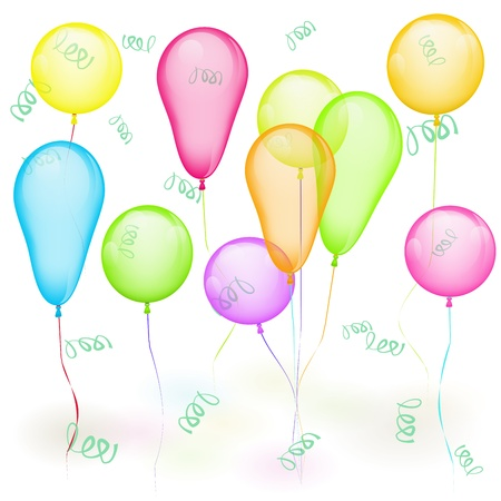Set of colored balloons on white  Yellow, red, green, blue Stock Vector - 13742144