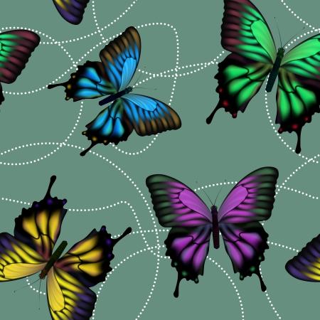 mariposas amarillas: De fondo sin fisuras con coloridas mariposas revolotean mech