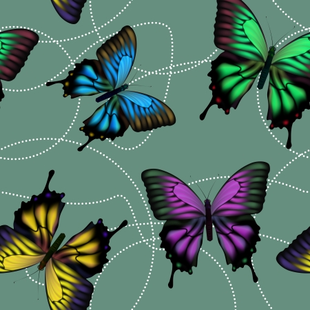 Seamless background with colorful mech fluttering butterflies Vector