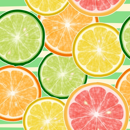 Seamless citrus fruits pattern  Lemon, orange, mandarin, grapefruit Vector