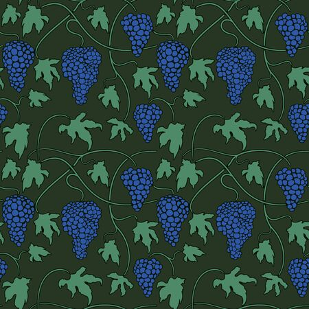 Green Seamless pattern with vines bunches and leaves Stock Vector - 13881853