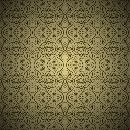 ottoman fabric: Seamless arabic background pattern  Gold and Black