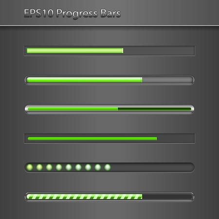 progress bar: Green cool set of progress bars