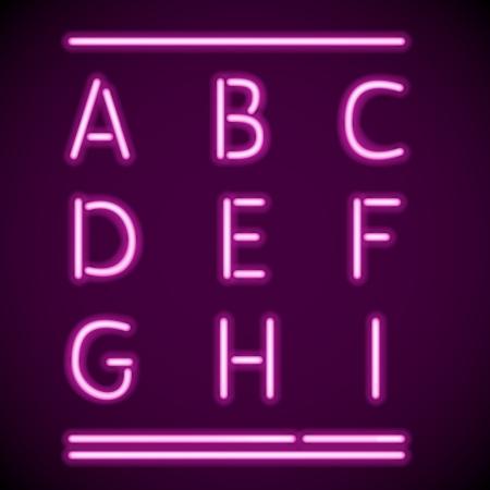 alphabetical letters: encajar las letras realistas de los tubos de ne�n