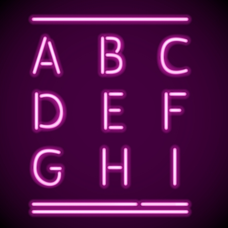 alphabetical letters: mesh realistic letters of neon tubes Illustration