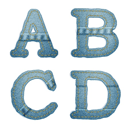 Vector Realistic Denim abc. Jeans characters with seams and rivets on white Vector