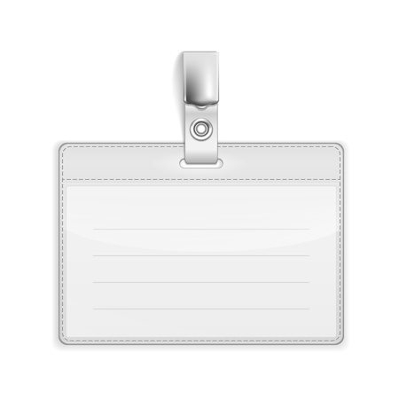 holder: Realistic Card Name or Id Holder isolated on white. Illustration