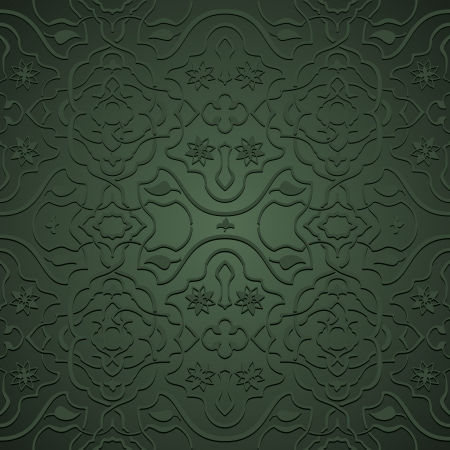 Interlacing flowery patterns in Oriental style, arabesque on green Stock Vector - 14026987