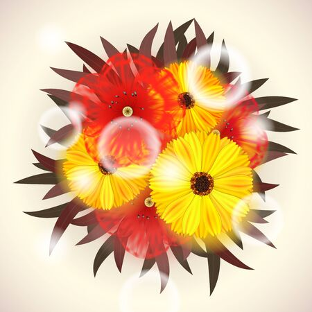 Vector Bright Bouquet of red and yellow Flowers  Stock Vector - 14441315