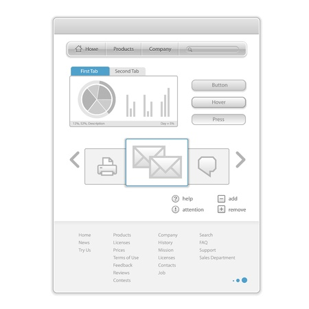 web mail: Vector minimalistic Web Page with interface control elements