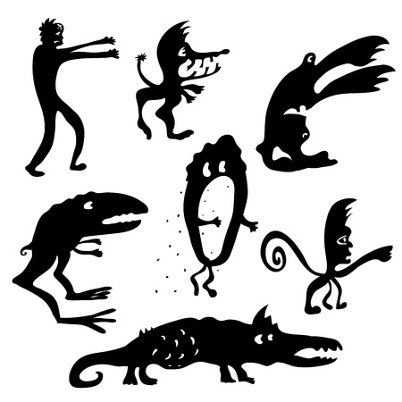 Set of Cartoon funny black monsters silhouettes  Night fears Vector