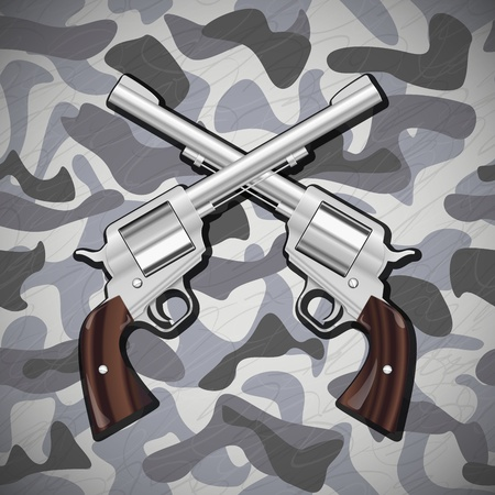Illustration  Crossed Guns on camouflage background Vector