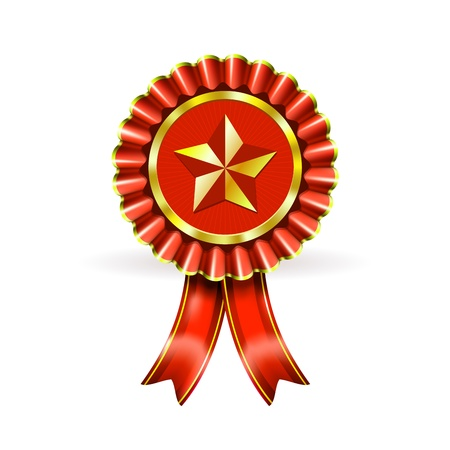 Illustration Award Red Label with Star and beams on white Stock Vector - 15158456