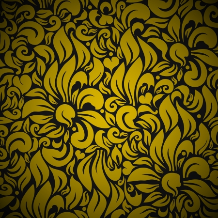 Seamless Floral Background Pattern  Gold flowers on Black Vector