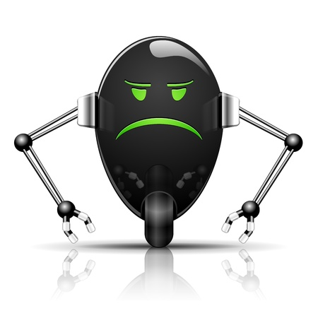 Illustration Robot Evil Egg funny cartoon on white Vector