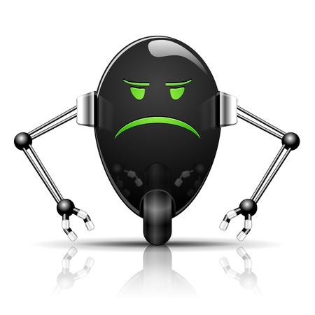 alien cool: Illustration Robot Evil Egg funny cartoon on white