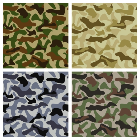 Camouflage background of different colors with classic pattern Vector
