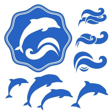 delfin: Zestaw Delfiny sylwetki niebieskie fale na biały