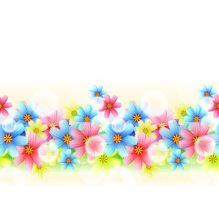Illustration Seamless beautiful Floral Border  isolated on white Stock Vector - 15158457